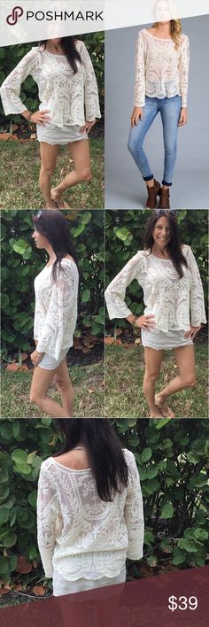 Crochet Top S,M,L See through lace crochet tunic.  Great to wear a cute bandeau under.  This top is versatile you can dress it up or go totally Boho with it your choice.  100% cotton.  Fit is dead on true to size Small 2-4, medium 6-8 and large 10-12 women's size.  And questions please ask. Tops Blouses