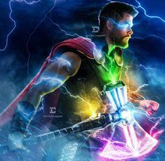 Thor and Stormbreaker with Infinity stones. Poster Marvel, Poster Superman, Marvel Comics, Marvel Heroes, Marvel Characters, Marvel Avengers, Captain Marvel, Captain America, Batman Vs