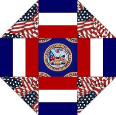 Army Patch Blue Flags Military Pre-Cut Quilt Blocks Kit