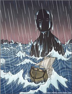 Umi bōzu appear on calm nights, when there is no sign of anything out of the ordinary. All of a sudden, with no warning, the waves and the weather whip up into a furious condition, and out from the tumult rises a titanic creature. It moves to destroy the ship, either by smashing the hull in a single blow, or taking it down bit by bit, depending on the size of both the ship and the umi bōzu.
