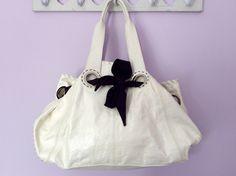JAEGER LARGE WHITE PATENT WITH BLACK TIE SHOULDER BAG - Whispers Dress Agency - Shoulder Bags - £50 York Uk, Womens Designer Bags, Large White, Bag Sale, Black Tie, Fashion Bags, Jimmy Choo, Shoulder Bags, Dior