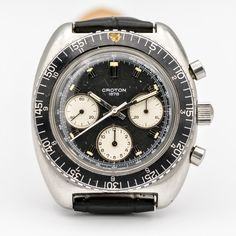 CROTON REF. 973001 Watch Companies, Vintage Watches, Chronograph, Omega Watch, Antique Watches, Vintage Clocks