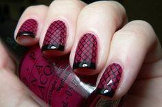 Maroon Fishnet Nail Design