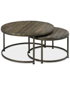 Link Wood Set of 2 Round Nesting Cocktail Tables