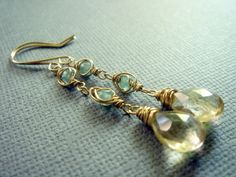 Fancy Lemon Quartz and Aquamarine 14k Gold Filled Earrings