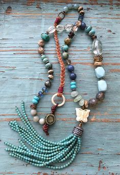 Knotted tassel necklace blue tan green turquoise earthy