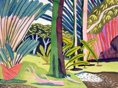Australian artist Jennifer Tyers – The Design Files. Art And Illustration, Illustrations, Garden Painting, The Design Files, Art Moderne, Modern Artists, Australian Artists, Tropical Garden, Art Design