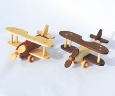 Wooden Toy Plane Classic Biplane All Hardwood by woodentoystudio