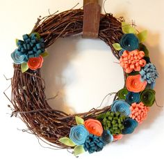 Hey, I found this really awesome Etsy listing at https://www.etsy.com/listing/261760233/spring-felt-wreath-spring-grapevine