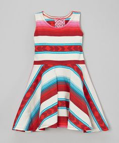 Another great find on #zulily! Red & Teal Aztec Skater Dress - Infant, Toddler & Girls #zulilyfinds