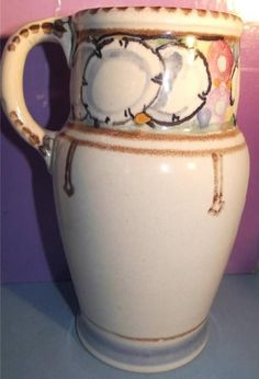 Art Deco Honiton Pottery Jug Honesty Pattern Studio Shape 31 English 1930s