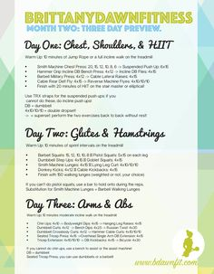 A three day preview of my workout plan! The full version can be found on my website: www.bdawnfit.com