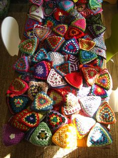 Lovely granny triangles. Could make a funky blanket?