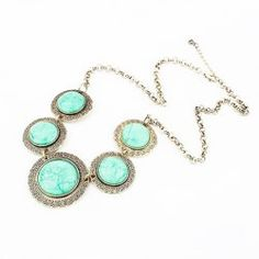 $4.88 Exaggerated Hot Sale Colored Gem Embellished Round Shape Necklace