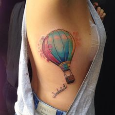 Bts Tattoos, Body Art Tattoos, Sleeve Tattoos, Watercolor Compass Tattoo, Watercolour Tattoos, Get A Tattoo, Back Tattoo, Air Balloon Tattoo, Globe Tattoos