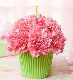 """in Bloom Birthday Carnation Cupcake -- aww, what a charming gift for a young lady.a """"cupcake"""" of beautiful flowers! :DBirthday Carnation Cupcake -- aww, what a charming gift for a young lady.a """"cupcake"""" of beautiful flowers!"""
