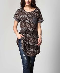 Loving this Brown Geometric Boyfriend Tunic - Plus on #zulily! #zulilyfinds