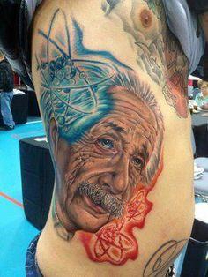 Atoms and Einstein Scientist Albert Einstein, Tattoo Foto, Science Tattoos, Psy Art, Some Body, Great Tattoos, Body Modifications, Science Art, Body Mods