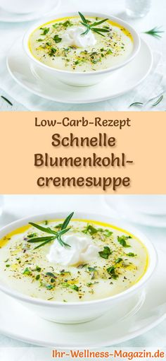 Low-Carb-Rezept für Blumenkohlcremesuppe: Kohlenhydratarm, kalorienreduziert und gesund. Ein einfaches, schnelles Suppenrezept, perfekt zum Abnehmen #lowcarb #suppen