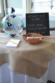 """Great baby shower activity for a nautical theme. Guests leave """"messages in a bottle"""" for the parents. Fiesta Baby Shower, Baby Shower Fun, Baby Shower Gender Reveal, Baby Shower Parties, Shower Party, Birthday Message For Nephew, Birthday Messages, Nautical Bridal Showers, Nautical Baby"""