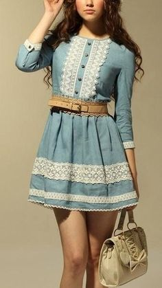 This is super cute with some brown knee high boots and white boot socks