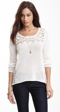 Long Sleeve Cutout Linen Blend Knit Sweater