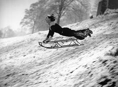 Tobogganing on Hampstead Heath, London, 22 December Roper, Frederick G Vintage Photographs, Vintage Photos, Hampstead Heath, Winter Photos, River Thames, Travel News, South Wales, Sled, Back In The Day