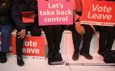 Vote Leave supporters wait for London Mayor Boris Johnson to address campaigners…