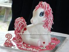 Homemade Pink My Little Pony Birthday Cake: First I'd like to say thanks to all the people who gave their ideas on this site. I made this homemade pink My Little Pony birthday cake after looking