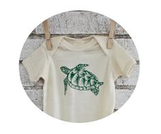 Sea Turtle Organic Cotton Baby Onepiece in by CausticThreads