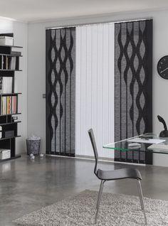 #cortinalamasvertical combinada con blanco y negro onduladas. www.navarrovalera.com