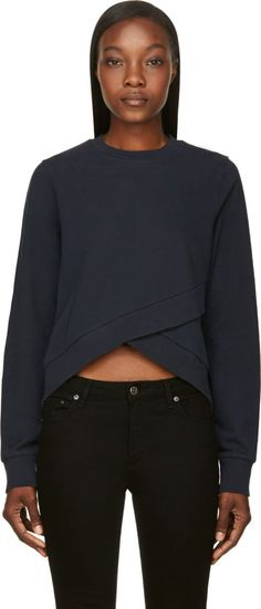 YMC Navy Angled Layer Sweatshirt