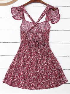 Ruffles Tiny Floral Cross Back Dress - RED S Mobile