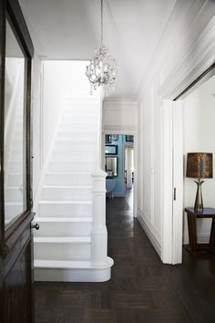 Inside an ad editor's collected brooklyn townhouse staircase Painted Staircases, Painted Stairs, Staircase Painting, White Staircase, Staircase Design, Staircase Ideas, Hallway Ideas, House Stairs, Carpet Stairs