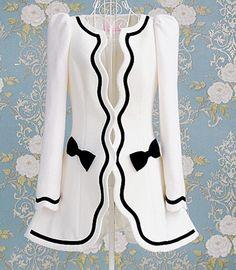 White floral inlay black self coat jacket