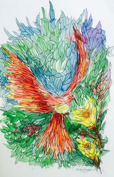 """The Bird""2 Watercolour with Pen&Ink illustration  By Irfan Khan  Email: mirkha12@yahoo.com"