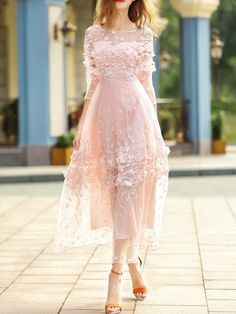 SheIn offers Pink Contrast C… Shop Pink Contrast Crochet Gauze Maxi Dress online. SheIn offers Pink Contrast Crochet Gauze Maxi Dress & more to fit your fashionable needs. Simple Dresses, Elegant Dresses, Day Dresses, Pretty Dresses, Dresses Online, Beautiful Dresses, Dress Outfits, Evening Dresses, Fashion Dresses