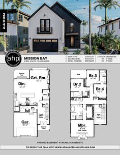 Narrow Modern Farmhouse w/ Pocket Office 2 Story Modern Farmhouse Style Plan Floor Plans 2 Story, Modern Floor Plans, Farmhouse Floor Plans, House Plans One Story, Dream House Plans, Modern House Plans, Modern House Design, Farmhouse Style, Modern Houses
