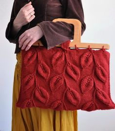 25% OFF SALE - A Walk Among Trees - OOAK designer leafy handbag with wooden handles in burnt orange - eco-fashion