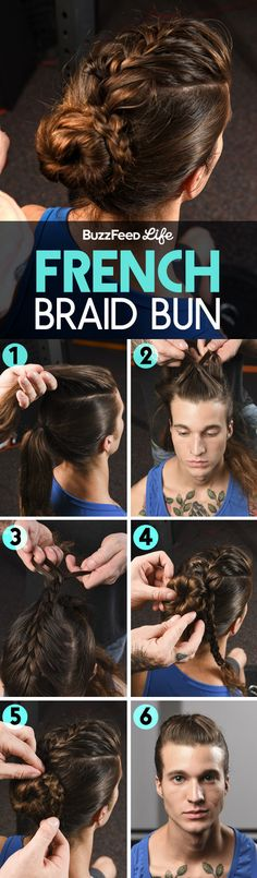 No one will care that your hair is hella dirty if it's in this fancy French braid bun.