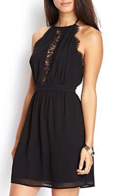 Enchanting Solid Black Open Back A Line Dress