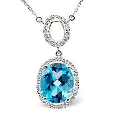 Blue Topaz 4.79CT And Diamond 9K White Gold Necklace - Item D3444. #thediamondstoreuk #bluetopazpendant #pendant #bluetopaz #jewellery