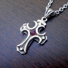 Gothic cross necklace vintage cross necklace. Unique cross