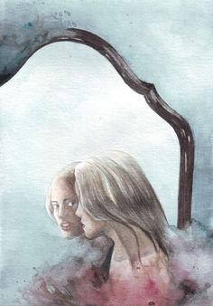 Image result for watercolor looking in the mirror