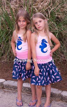 Seahorse Yoga Waist Twirl Skirt with (optional) Seahorse Tank Top-