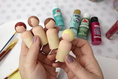 How to Paint Peg Dolls - Simple Craft to Entertain Kids - Clumsy Crafter How to make simple and fun DIY peg dolls using wooden peg doll forms. Wood Peg Dolls, Clothespin Dolls, Wood Toys, Baby Crafts, Fun Crafts, Doll Crafts, Doll Painting, Painting On Wood, Doll Tutorial
