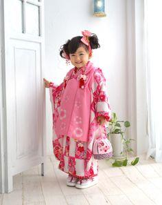 七五三 三歳 女の子 着物(赤)Kimono children
