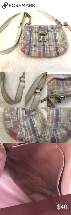 """Plaid Authentic Coach Swingpack Crossbody Bag Length 9"""". Height 7.25"""". Exterior pocket. Interior slip pocket. Adjustable crossbody bag. Multiple staining/signs of wear-never tried to remove/clean. Coach Bags Crossbody Bags"""