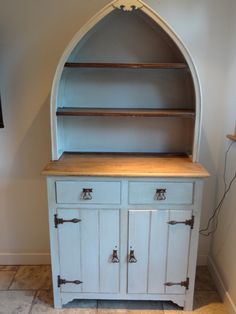 Dark oak gothic dresser with arched top, painted with Farrow and Ball, then crackled and stained with a dark wax to give an aged appearance