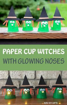 Paper cup witch craft for kids. Glowing nose made with tea light candle. Paper cup witch craft - an easy Halloween craft for kids. Use it for Halloween imaginary play or as a Halloween light in front of the house. Halloween Tags, Scary Halloween Crafts, Halloween Activities For Kids, Theme Halloween, Halloween Crafts For Kids, Crafts For Kids To Make, Holiday Crafts, Holiday Fun, Pumpkin Crafts Kids